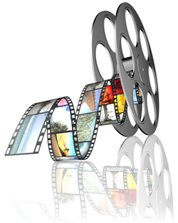 A film reel is rolling across a white background. Trailing behind it is a colorful film strip that shows images from a screenplay.